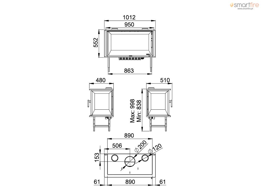 Recuperador I90/3 14kW - Desenho Técnico