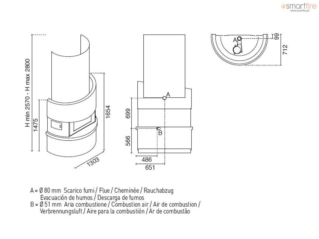 Lareira a Pellets Michelangelo 12 - Desenho Técnico