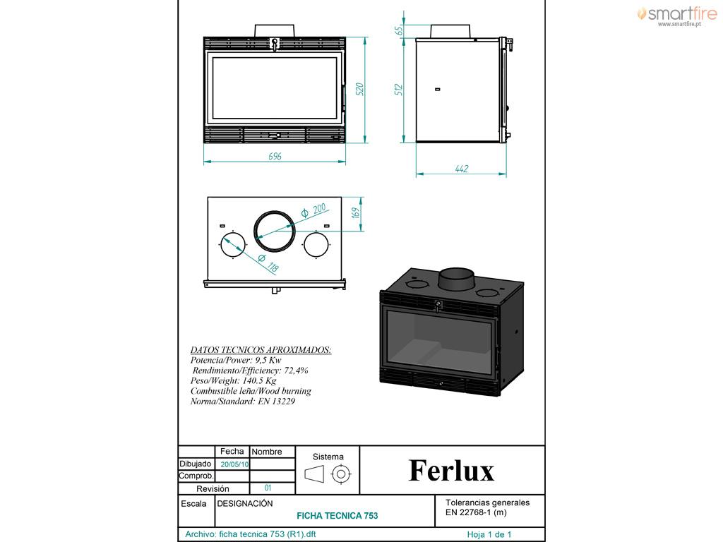 Recuperador Ferro Fundido c/ Ventilação 753 14kW - Desenho Técnico