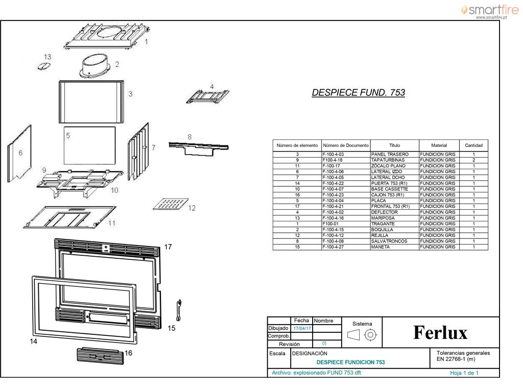 Recuperador Ferro Fundido c/ Ventilação 753 14kW - Desenho Técnico 2