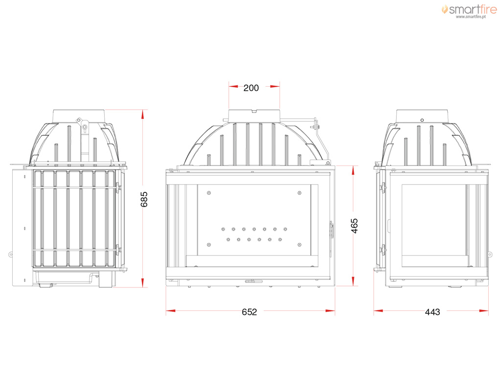 Recuperador 700 de Canto 12kW - Desenho Técnico