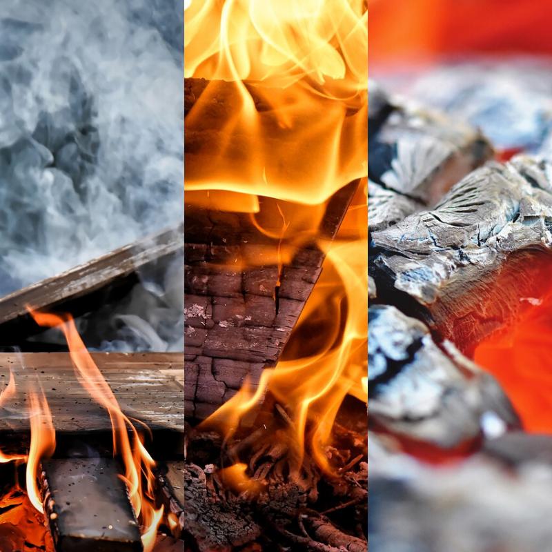 As 3 fases da combustão em equipamentos a lenha